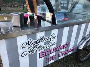 Ice Cream Cart with Personalised Signage at a Wedding