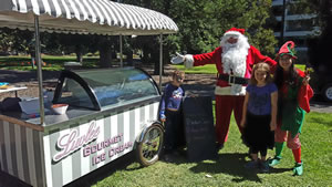 Santa with the Luvlee Ice Cream Cart
